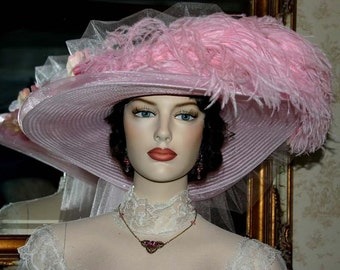 Victorian Hat, Kentucky Derby Hat, Ascot Hat, Tea Party Hat, Titanic Hat, Women's Pink Hat - Pink Rose Delight