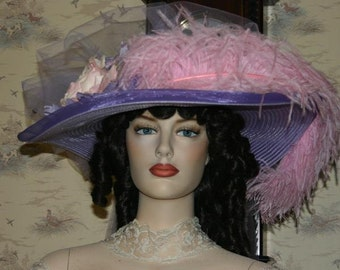 Victorian Hat, Lavender & Pink Kentucky Derby Hat, Oaks Hat, Ascot Hat, Pink Feather Hat, Tea Party Hat - Lavender Pink Delight