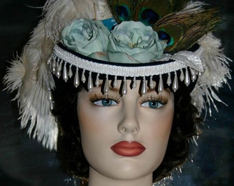 Victorian Hat, SASS Hat, Riding Hat, Sidesaddle Hat, Western Hat, Tea Party Hat, Kentucky Derby Hat, Green Ivory Hat - Deadwood IV