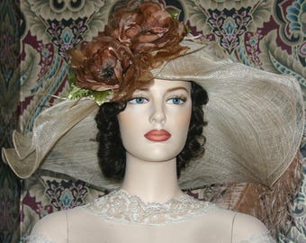 Kentucky Derby Hat, Ascot Hat,  Edwardian Tea Party Hat, Titanic Hat, Somewhere Time Hat, Del Mar Hat - Lady Latte