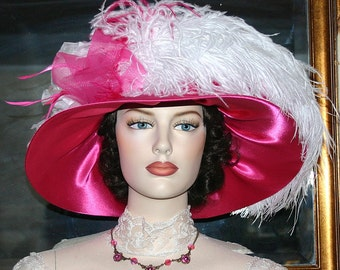 Kentucky Derby Hat, Ascot Hat, Titanic Hat, Church Hat, Wedding Hat, Del Mar Hat, Fashion Hat, Wide Brim Hat, Tea Hat - Mademoiselle Monet