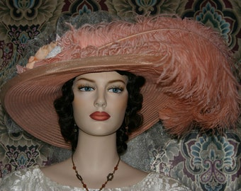Victorian Hat, Peach Pink Kentucky Derby Hat, Oaks Hat, Tea Party Hat, Wide Brim Hat - Peaches & Cream Delight