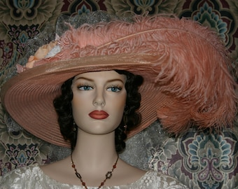Fashion Hat, Victorian Hat, Peach Pink Kentucky Derby Hat, Oaks Hat, Tea Party Hat, Wide Brim Hat - Peaches & Cream Delight