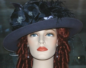 Kentucky Derby Hat, Ascot Hat, Edwardian Hat, Tea Hat, Titanic Hat, Somewhere in Time Hat, Women's Gray Hat - Lady Ashcroft