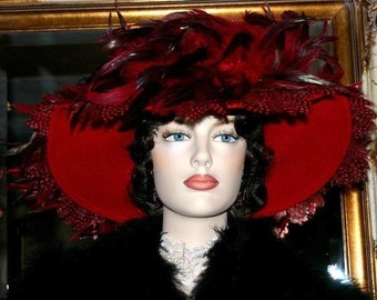 Edwardian Hat, Downton Abbey Hat, Kentucky Derby Hat, Ascot Hat, Del Mar Hat, Somewhere Time Hat, Formal Hat, Fashion Hat - Lady English