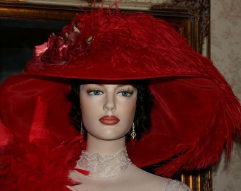 Kentucky Derby Hat, Ascot Hat, Edwardian Tea Hat, Titanic Hat, Somewhere Time Hat, Red Hat Society - Run for the Roses