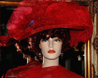 Kentucky Derby Hat, Del Mar Hat, Fashion Hat, Edwardian Hat, Red Hat, Wide Brim Hat, Ascot Hat, Titanic Hat, Women's Hat - Miss Red Delight