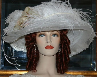 Kentucky Derby Hat, Ascot Hat, Del Mar Hat, Edwardian Hat, Titanic Hat, Wedding Hat, Wide Brim Hat, Fashion Hat, Women's Hat - Lady Ophelia