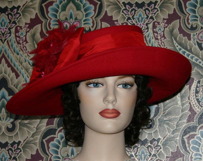 Featured listing image: Kentucky Derby Hat Ascot Edwardian Tea Hat Titanic Hat Somewhere in Time Hat Downton Abbey Hat Women's Red Hat - Lady Olivia