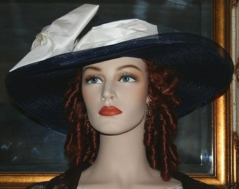 Kentucky Derby Hat, Royal Ascot Hat, Wedding Hat, Edwardian Tea Party Hat, Titanic Hat, Somewhere Time Hat, Wide Brim Hat - Titanic