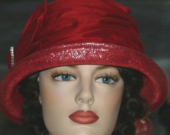 Red Kentucky Derby Hat, Ascot Hat, Cloche Hat, Flapper Hat, Gatsby Hat, Downton Abbey Hat, Church Hat - Mademoiselle Suzette