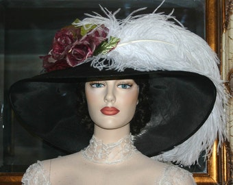 Kentucky Derby Hat, Ascot Har, Edwardian Tea Hat, Titanic Hat Somewhere Time Hat, Downton Abbey Hat, Royal Weddng Hat - Run for the Roses