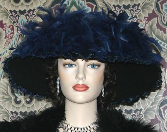 Edwardian Hat, Kentucky Derby Hat, Titanic Hat, Somewhere Time Hat, Navy Blue Hat - Lady Anna  2 Weeks for Completion