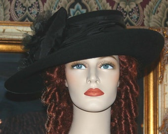 Kentucky Derby Hat, Ascot Hat  Edwardian Hat, Titanic Hat, Black Women's Hat - Lady Olivia