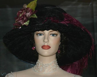 Edwardian Hat, Kentucky Derby Hat, Ascot Hat, Del Mar Hat, Tea Party Hat, Downton Abbey Hat, Titanic Hat, Wide Brim Hat - Lady Alexia