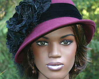 Flapper Hat, Edwardian Hat, Winter Hat, Gatsby Hat, Tea Party Hat, Cloche Hat, Women's Black Hat - Lady Marguerite
