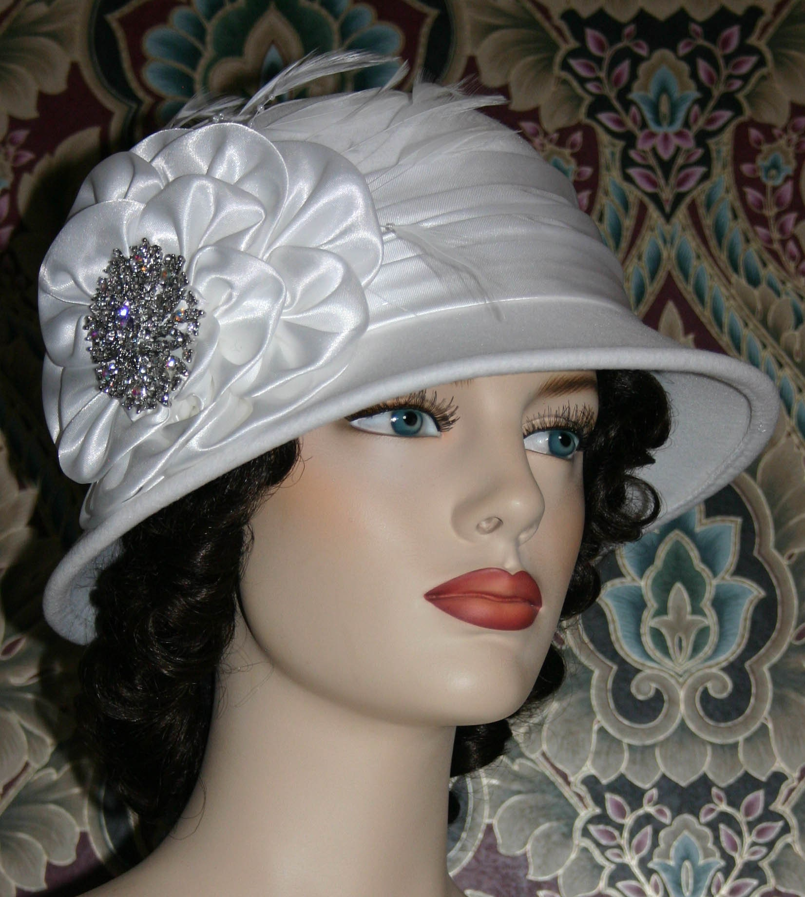 d27264dcb5387e Downton Abbey Flapper Hat, Edwardian Church Hat, Snow White Cloche Hat,  Winter Gatsby Hat, Christmas Hat, Wedding Hat New Years - Snow Queen