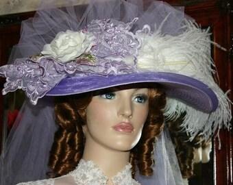 Victorian Hat, Kentucky Derby Hat, Ascot Ht, Tea Party Hat, Women's Wide Brim Hat, Lavender Hat- Lavender Crystal Fairy