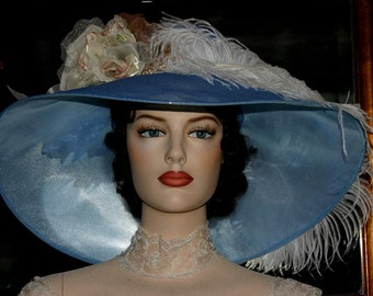 """Kentucky Derby Hat Edwardian Style Hat Tea Hat Downton Abbey Hat Ascot Hat """"Run for the Roses"""" Blue & IvoryHat"""