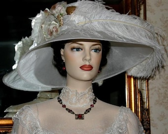Ascot Hat Kentucky Derby Hat Wide Brim Tea Hat Titanic Hat Somewhere in Time Hat Downton Abbey Hat Edwardian White Hat - Run for the Roses
