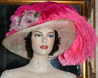 Hot Pink Kentucky Derby Hat, Ascot Hat, Edwardian Hat, Downton Abbey Hat Titanic Hat, Wide Brim Hat - Lady Pauline