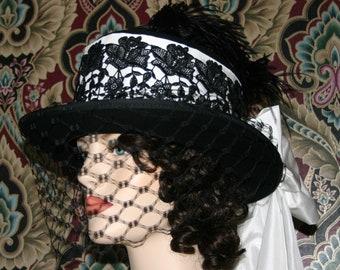 Victorian Hat, Ascot Hat, Edwardian Hat, Tea Party Hat, Top Hat, SASS Riding Hat, SideSaddle Hat, Black White - Madame Dubois