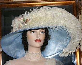 "Kentucky Derby Hat Edwardian Hat Titanic Tea Hat Downton Abbey Hat Ascot Hat ""Run for the Roses"" Blue & Ivory Tea Hat"