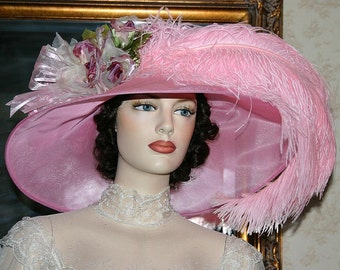 Kentucky Derby Hat, Ascot Hat, Edwardian Tea Hat, Titanic Hat, Royal Wedding Hat, Downton Abbey Hat, Women's Pink Hat - Run for the Roses