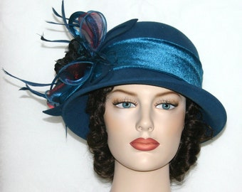 Flapper Hat, Edwardian Ha,t Gatsby Hat, Roaring Twenties Hat, Women's Cloche Hat, Aqua Hat, Kentucky Derby Hat - Mademoiselle Monique