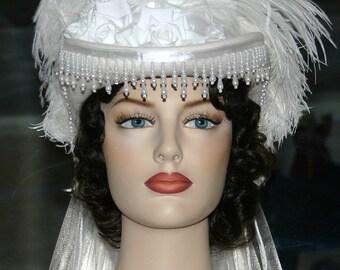 Victorian Hat, Kentucky Derby Hat, SASS Hat, Wedding Hat, Tea Party Hat, Western Hat, Ivory Hat, Cocktail Hat - Spirit of Milledgeville