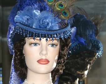 Victorian Hat, SASS Hat, Sidesaddle Hat, Riding Hat, Tea Party Hat, Blue Hat, Western Hat, Kentucky Derby Hat - Spirit of Rapid City