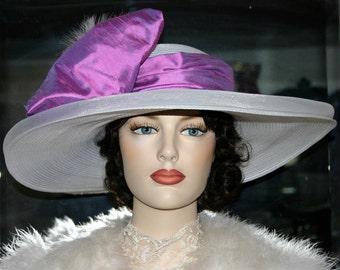 Kentucky Derby Hat Wide Brim Tea Hat Titanic Hat Somewhere in Time Hat Downton Abbey Hat Edwardian Women's White Pink Hat - Harlequin