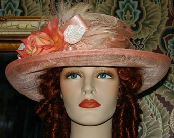 Church Hat, Ascot Hat, Edwardian Hat, Titanic Hat, Somewhere Time Hat, Downton Abbey Hat, Peach Easter Hat, Kentucky Derby Hat - Miss Betty