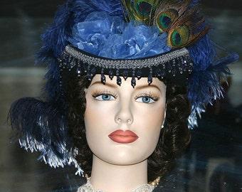 Victorian Hat, Derby Hat, Steampunk Hat, Sidesaddle Hat, Sass Hat, Blue Hat - Bloomfield