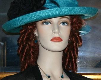 Edwardian Hat, Church Hat, Women's Hat, Aqua Gatsby Hat, Medium Brim Hat - Lady Charmaine