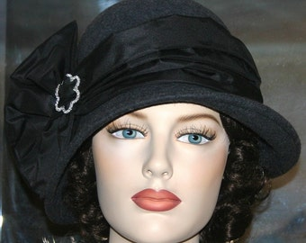 Kentucky Derby Hat Downton Abbey Hat Church Gatsby Tea Hat Cloche Hat Edwardian Hat Roaring Twenties Hat Women's Gray Hat - Lady Josephine