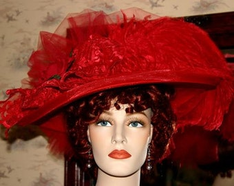 Victorian Tea Hat, Red Kentucky Derby Hat, Ascot Hat, Edwardian Hat, Red Hat Society, Tea Party Hat, Titanic Hat Wide - Red Crystal Fairy IV