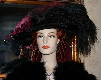 Victorian Hat, Steampunk Hat, Gothic Hat, Kentucky Derby Hat, Ascot Hat, Titanic Hat, Downton Abbey Hat - Burgundy Crystal Fairy -