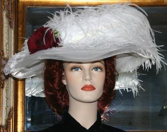 Kentucky Derby Hat, Ascot Hat, Edwardian Hat, Fashion Hat, Women's White Hat, Wide Brim Hat, Garden Party Hat, Wedding Hat - Lady Katherine