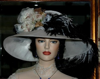 """Kentucky Derby Hat Edwardian Hat Downton Abbey Hat, Ascot Hat """"Run for the Roses"""" White Tea Hat"""