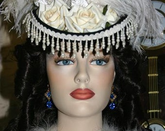 Victorian Hat, Riding Hat, Sidesaddle Hat, SASS Hat, Black Ivory Hat, Western Hat, Cocktail Hat, Kentucky Derby Hat - Dodge City -