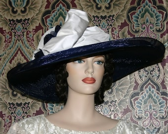 Kentucky Derby Hat, Royal Ascot Hat, Del Mar, Edwardian Tea Hat, Black Hat, Titanic Hat, Fashion Hat - Titanic - Women's Wide Brim Hat