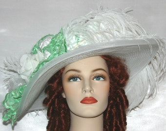 Edwardian Tea Hat, Kentucky Derby Hat, Ascot Hat, Titanic Tea Hat, Somewhere Time Hat, Garden Party Hat, Wedding Hat - Green Apple Delight