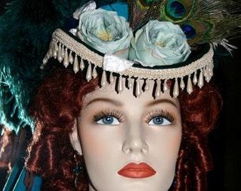 Victorian Hat, Steampunk Hat, SASS Hat, Victorian Riding Hat, Cocktail Hat, Kentucky Derby Hat, Aqua/Green Hat - Deadwood III