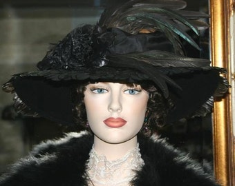 Kentucky Derby Hat, Ascot Hat, Edwardian Hat, Titanic Hat, Tea Hat, Black Feather Hat, Fashion Hat, Womens Hat, Wide Brim Hat - Amherst