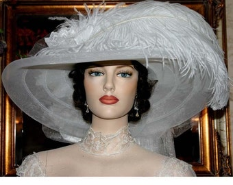 Wedding Hat White Tea Hat Somewhere in Time Hat Designed by Darna Miss Wedding White Crystal Fairy
