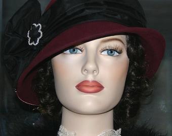 "Flapper Hat Edwardian Style Hat Downton Abbey Hat, Gatsby Hat Burgundy & Black Cloche ""Lady Josephine"""