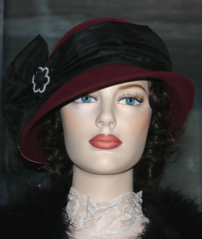 8e7c4051964f99 Flapper Hat Edwardian Style Hat Downton Abbey Hat, Gatsby Hat Burgundy &  Black Cloche