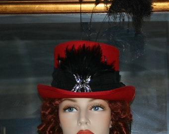 SPECIAL ORDER Kentucky Derby Hat Victorian Hat Steampunk Hat Gothic Hat Ascot Hat Top Hat Women's Red & Black Hat - All Hallows Eve