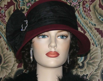 Kentucky Derby Hat Flapper Hat Gatsby Hat Cloche Hat Burgundy Roaring Twenties Hat Women's Burgundy Black Hat Church hat - Josephine